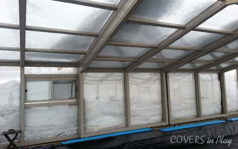 Retractable Pool Enclosure Patent frame for heavy snow