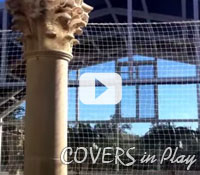 Covers in Play - Two story Pool Enclosure moves with a push of a button